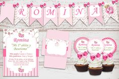 Kit Imprimible Bautismo Cumpleaños Shabby Rosa Nena 1 Año Baptism Invitations, Digital Invitations, Shabby Chic Pink, Baby Birthday, Birthday Party Decorations, Christening, Baby Shower, 1 Year, Products