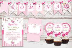 Kit Imprimible Bautismo Cumpleaños Shabby Rosa Nena 1 Año
