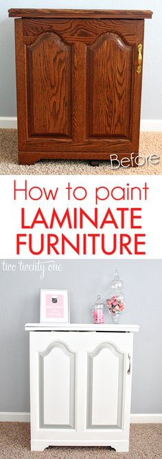 Best DIY Projects: How to paint laminate furniture! : Best DIY Projects: How to paint laminate furniture! Painting Laminate Furniture, Paint Furniture, Furniture Projects, Furniture Making, Furniture Makeover, Home Projects, Antique Furniture, Painting Veneer, Modern Furniture