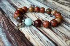 Yogi Protection Bracelet, Natural Stone Hasma Hand Amazonite Stacking Bracelet $18