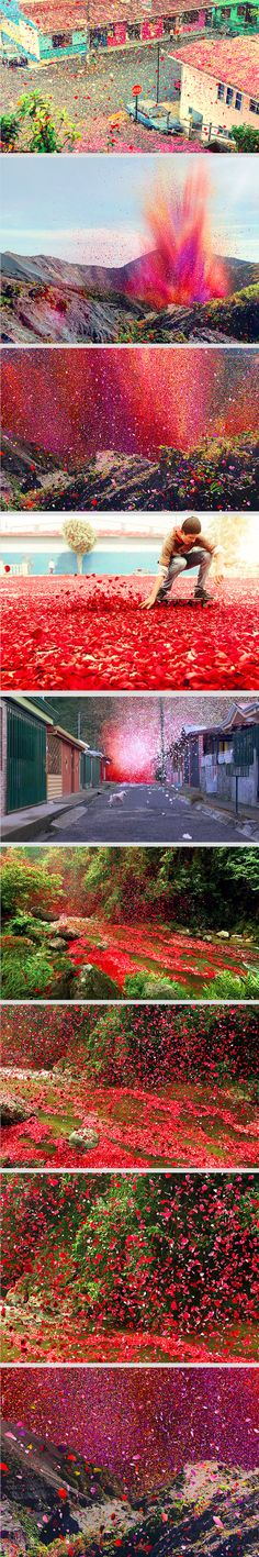 A glorious eruption of vibrantly-colored flower petals – 8 million of them – has flooded through a small village in Costa Rica. Perhaps the most surprising thing about this stunt is that these billowing waves of petals are real. It took the creative team behind the endeavor and the inhabitants of the village more than two weeks to collect the 8 million flower petals used, which ended up weighing about 3.5 tons.
