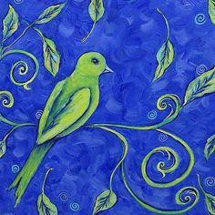 Whimsical Paintings | ... Eye View in Blue - by Dana Marie from animal wildlife art gallery