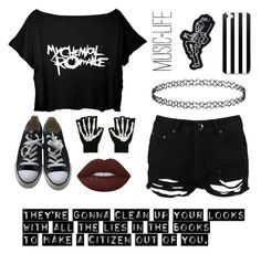 """""""•Teenagers~MCR•"""" by moonboyy ❤ liked on Polyvore featuring Boohoo, Converse, Hot Topic, Lime Crime, music, emo, mcr and mychemicalromance"""