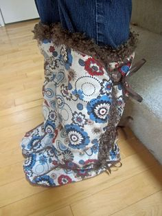 DIY slipper boots. I think with different fabric and soles, they could be made for outdoor use.