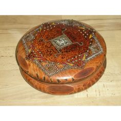 Vintage French Lourdes Inlaid Wooden Box - Signed