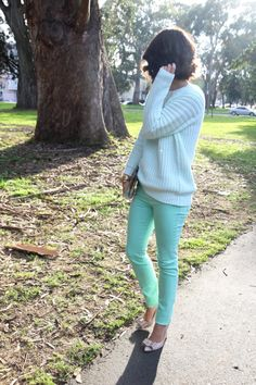 today I bought mint pants.  someone please tell me what to do with them.