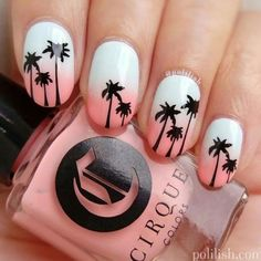 Sunset Tropical Nail Art ★ Tropical nails are the best addition for those gorgeous summer outfits you have prepared for the sunny days. Do not fear to use your imagination! Tropical Nail Designs, Tropical Nail Art, Beach Nail Designs, Nail Art Designs, Nails Design, Hawaiian Nail Art, Beach Design, Salon Design, Tree Designs