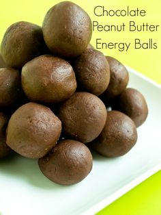 Chocolate Peanut Butter Energy Balls.  Vegan, grain free, super healthy, only 5 ingredients, kid approved! Great quick and easy #snack #recipe.