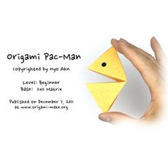 Introducing an Origami Pac-Man Origami Man, Easy Origami, Origami Models, Pac Man, Children's Place, Art Music, Art Lessons, Art For Kids, Paper Art