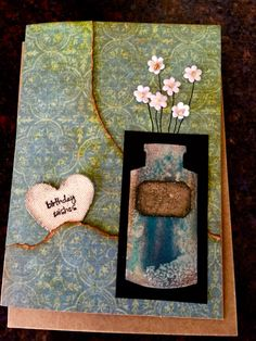 Birthday card made with Tim Holtz apocathary bottle die and canvas heart