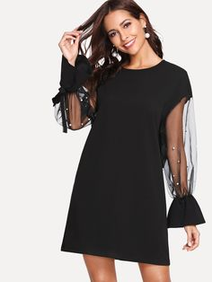 Pearl Detail Mesh Tied Sleeve Tunic Dress -SheIn(Sheinside) – lindsay rugtier – Join in the world of pin Lil Black Dress, Black Dress Outfits, Chic Outfits, Casual Dresses, Short Dresses, Fashion Dresses, Black Tunic Dress, Pretty Dresses, African Fashion