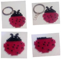 #Llavero de #mariquita de la #suerte con #hama beads mini #HOWTO #DIY #artesanía #manualidades #reciclaje