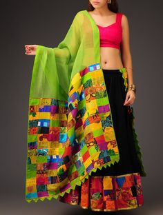 Green Patchwork on Kota Cotton Dupatta