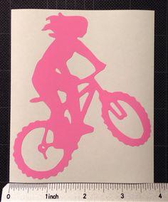 Mountain Biking Woman Vinyl Decal Girl MTN biking on Etsy, $5.00