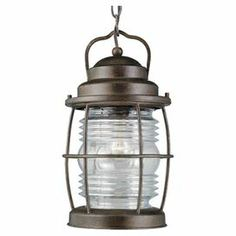 """Hanging lantern in gilded copper with a cage-inspired design.   Product: LanternConstruction Material: Glass and metalColor: Gilded copperFeatures: 10' Wire and 6' chain included  Suitable for indoor or outdoor useAccommodates: (1) 100 Watt bulb - not includedDimensions: 14"""" H x 8"""" Diameter"""