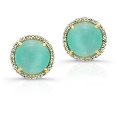 14kt yellow gold aqua shatoyant diamond round stud earrings (€880) ❤ liked on Polyvore featuring jewelry, earrings, yellow gold diamond earrings, round diamond earrings, aqua earrings, yellow gold jewelry and round stud earrings