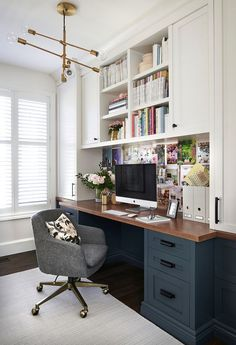 Office Design : Home Office Design Trends 2015 Home Office Design Layout Free Home Office Design Ideas For Two Pretty Sure This Is My Dream Office Love The Dark Blue Gray Lower Desk Cabinets Wood Top And White Uppers Office Home Design. Home Office Design Home Office Space, Home Office Design, Home Office Decor, Home Design, Interior Design, Home Decor, Design Ideas, Office Designs, Home Office Furniture Ideas