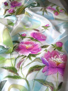 Peony silk scarf Silk scarf handpainted Floral silk by ArtSilkLana Hand Painted Sarees, Hand Painted Fabric, Fabric Painting On Clothes, Painted Clothes, Saree Painting, Silk Painting, Floral Back Tattoos, Floral Print Sarees, Fabric Paint Designs