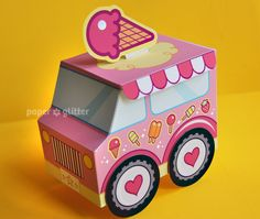 Ice Cream Party Favor Box Truck Paper Craft Toy - Editable Text Printable PDF - 0110. $4.00, via Etsy. Ice Cream Theme, Ice Cream Party, Paper Toys, Paper Crafts, Paper Art, 3d Templates, Invitation Templates, Creative Gift Wrapping, Toy Craft