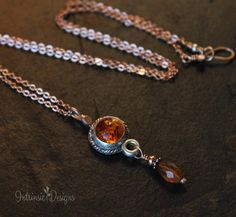 Baltic Amber & Hessonite Garnet  Mixed Metal Pendant Necklace