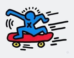 Skateboarder, Offset Lithograph, Keith Haring – Human's Art Plus