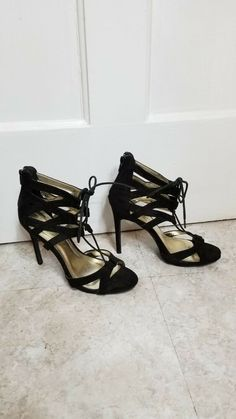 5f513e2a7ab Candies Strappy High Heels Black Size 8  fashion  clothing  shoes   accessories