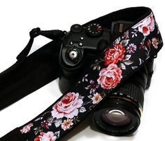 Roses Camera Strap Floral Camera Strap Black by CameraStraps4You