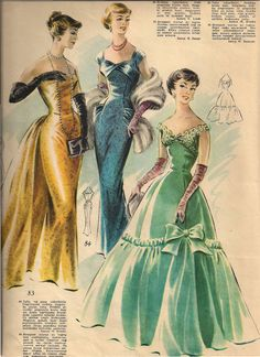 Rigas Modes (1957-1958) late 50s evening wear gown dress gold teal green column sheath full skirt stole train color illustration print ad
