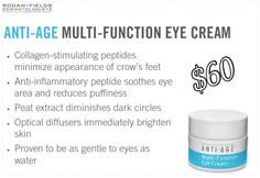 Rodan and Fields REDEFINE Multi-Function Eye Cream $60 REDEFINE Multi-Function Eye Cream combines powerful peptides to minimize the appearance of crow's-feet, helps reduce the appearance of both puffiness and dark under eye circles while special optical diffusers noticeably brighten the eye area. Ophthalmologist tested, this formula is ideal for maintaining the delicate skin around the eyes.