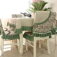 Custom table cloths and chair covers add pattern and create interest.
