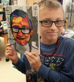 Kindergarten Self Portraits, Student Self Portraits, Portraits For Kids, Self Portrait Art, Portrait Ideas, 6th Grade Art, Fourth Grade, Third Grade, Atelier D Art