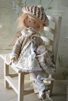 Купить Акварелька. Текстильная коллекционная кукла ангел. Бохо стиль. - кукла, кукла ручной работы