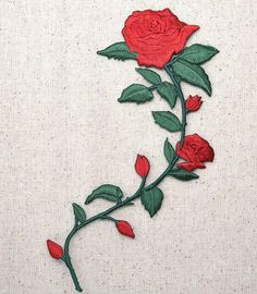 "Red Rose Flower Iron on Applique High quality, detailed embroidery applique. Can be sewn or ironed on. Great for hats, bags, clothing, and more! Size is approx. 3-5/8"" x 5-1/2"" or 9.21cm x 13.97cm"