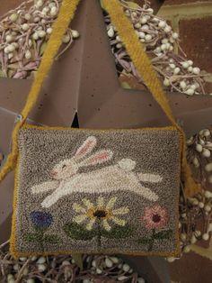 "Primitive Punch Needle ~""Bunny with Flowers"" ~Folk Art ~ Easter Cupboard Hanger | eBay!"