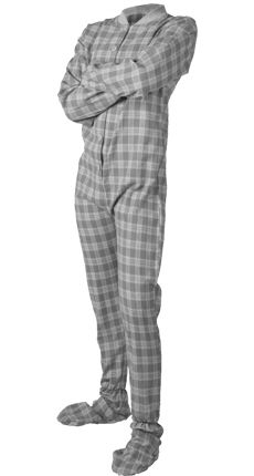 Gray White Plaid Flannel Adult Unisex Footed Pajamas with Drop Seat (XL) 978197332