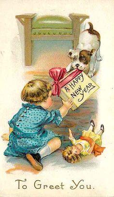 Happy New Year. Vintage New Year Card. suzilove.com