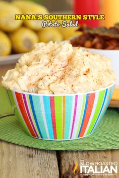 Nana's famous recipe of Southern Style Potato Salad is so good it is bound to become a tradition in your house too.  Rich and creamy with bits of onion and egg really bring this classic over the top. #TSRISummer #salad #potato #familyrecipe