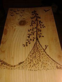 Lonely tree. Pyrography. By Dimitris Kampakakis