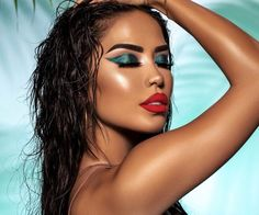 Sizzlin' all summer long 🔥 _______________________________ Eyes Turquoise Eye Makeup, Turquoise Eyes, Bold Eye Makeup, Red Makeup, Colorful Eye Makeup, Light Makeup Looks, Party Makeup Looks, Summer Makeup Looks, Red Lipstick Looks