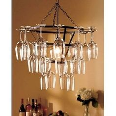 New Dining Bar Tiered Wine Glass Rack Chandelier Ceiling Light Holds 25 Pub Bar
