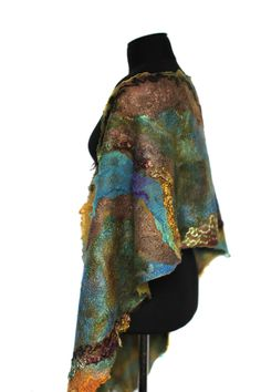 Earthy Color Nuno Felted Scarf