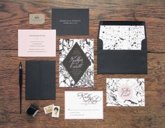The Gwendolyn Wedding Invitation & Correspondence Set / Black and White Painted Marble with Pink Accents / Sample Set