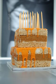 Grey and Orange Rice Krispie Treat Cake grey and orange chevrons