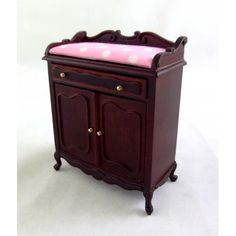 Dolls House Fine Miniature Nursery Furniture Mahogany Wood Baby Changing Table