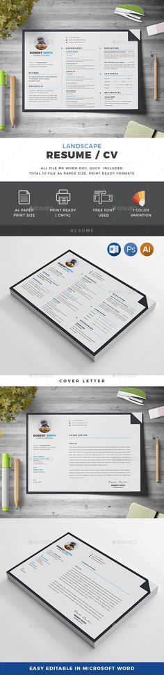 Landscape Resume by generousart Features of Resume Template Color Paper Size With Bleeds Quick and easy to customize templatesChange Customize easily i College Resume Template, Simple Resume Template, Resume Design Template, Creative Resume Templates, Cv Template, Basic Resume, Resume Cv, Resume Writing, Professional Resume
