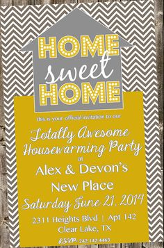 Housewarming Invitation - Chevrons & Gold  Home Sweet Home