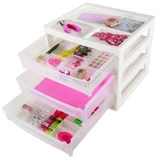 IRIS SBD-353 White 3 Drawer Scrapbook Table Chest w/2 Clear Organizer Trays for IRIS Scrapbook Cases and Drawers SBC-OT
