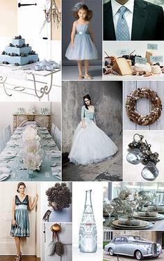 winter wedding blue/cream/grey color palette