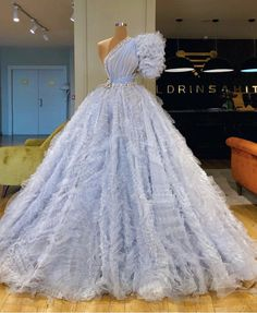 One short sleeve baby blue gown by Prom Dresses Blue, Event Dresses, Ball Dresses, Pretty Dresses, Ball Gowns, Formal Dresses, Pageant Dresses, Formal Wear, Couture Dresses