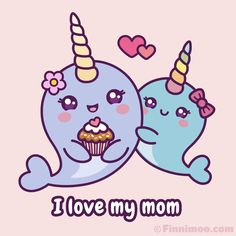Cute Narwhal Finnimoo proves her love for her mom and surprises her with a self-made cupcake and a big hug. Have a magical Mother's Day! Kawaii Narwhal, Cute Narwhal, Cute Kawaii Drawings, Kawaii Art, Cartoon Gifs, Cartoon Drawings, Narwhal Drawing, Mothers Day Drawings, Rainbow Drawing